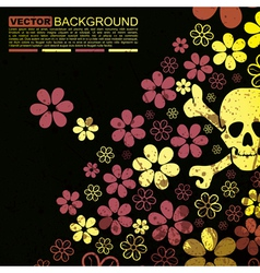 Abstract skull and flowers grunge background desig vector image