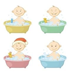 Cartoon children washing in a bath vector image