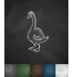 Goose icon hand drawn vector