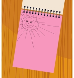 notebook with the sun vector image