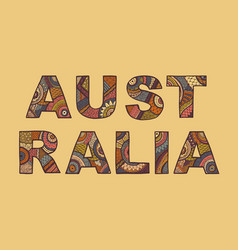 the inscription of australia in ethnic style vector image vector image