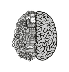 Combined human brain with computing engine icon vector image vector image
