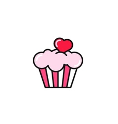 cupcake with heart flat style vector image