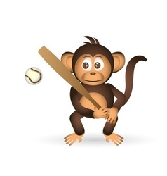 cute chimpanzee holding baseball bat sport little vector image