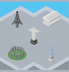 isometric cities set of rio new york paris and vector image