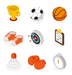 Isometric sport flat icons vector image