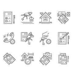 Linear icons for rent of house vector image