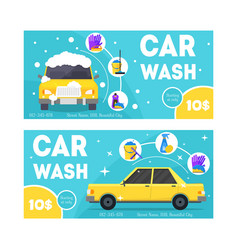 car wash service banner card set vector image