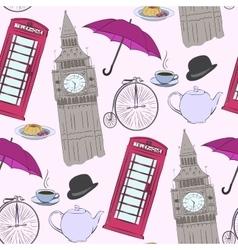 hand drawn London pattern vector image