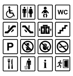 Public icons set vector image