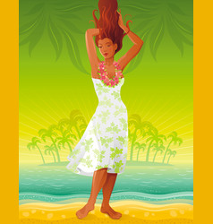 summer people travel beach background beautiful vector image vector image