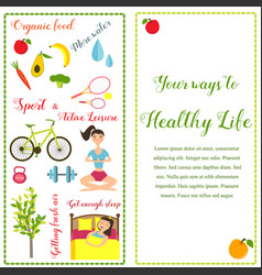 two banners healthy life style in flat design vector image vector image