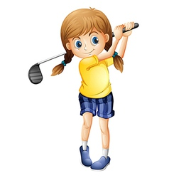 A sporty girl playing golf vector image vector image