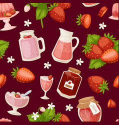 confectionery desserts strawberry pink icon set vector image