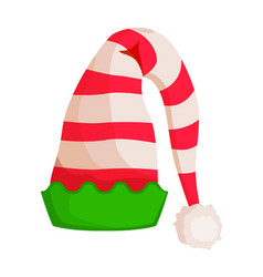elf striped hat with green wavy trim isolated vector image vector image