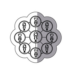 figure people connection icon vector image