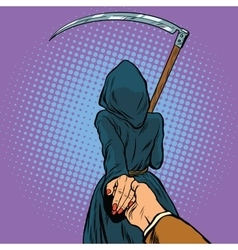 Follow me the Grim Reaper leads vector image vector image