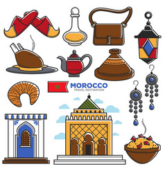 morocco tourism travel famous symbols and tourist vector image vector image