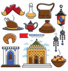 morocco tourism travel famous symbols and tourist vector image