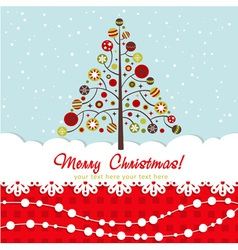 Ornate Christmas card with xmas tree vector image