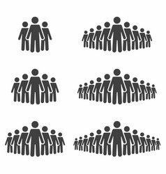 people icon set stick figures crowd signs vector image vector image