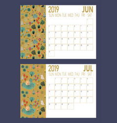 2019 new year calendar sheet with forest vector image