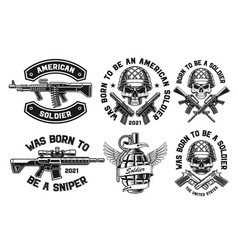 a set for military theme vector image