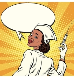 African American nurse with a syringe for vector image