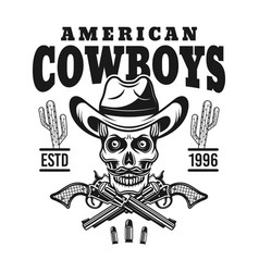 american cowboy emblem with skull in hat vector image