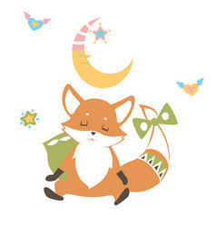 baby fox sleeping with the moon above pillow he vector image