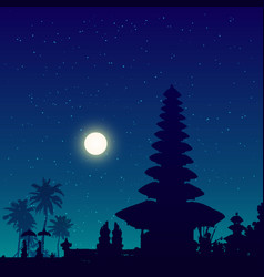 bali temple silhouette night sky background vector image