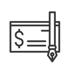 Bank check and ink pen icon bank and financial vector