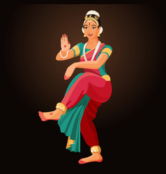 bharatanatyam or bharathanatiyam woman dancer vector image