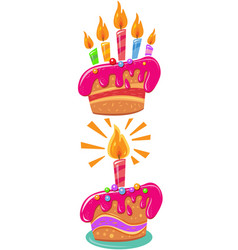birthday cakes with colorful candles vector image