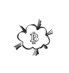 Bitcoin comic boom bubbles bursting sketching vector