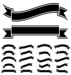 Black and white ribbon symbols vector