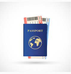blue passport with airline tickets vector image