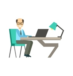 Bold Man In Glassins At His Working Desk vector