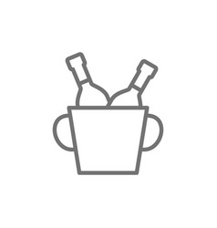 bucket two champagne bottles line icon vector image