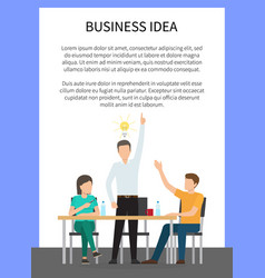 Business idea poster and text vector