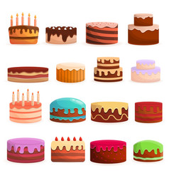 cake birthday icon set cartoon style vector image