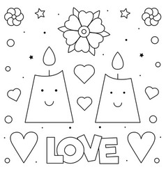 candles coloring page black and white vector image