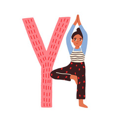 Capital letter y childish english alphabet with vector