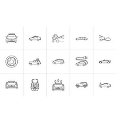 car hand drawn outline doodle icon set vector image