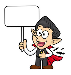 Cartoon dracula character is holding a board vector