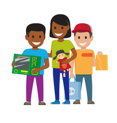 Cartoon set of smiling family who goes shopping vector