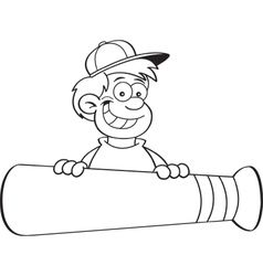 Cartoon smiling boy behind a large baseball bat vector
