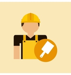 Character construction man with tool box brush vector