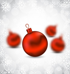 Christmas background with red glass balls and vector image