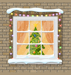 christmas window in brick wall vector image
